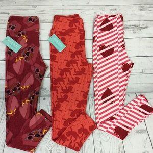 Lularoe Valentines leggings bundle of 3